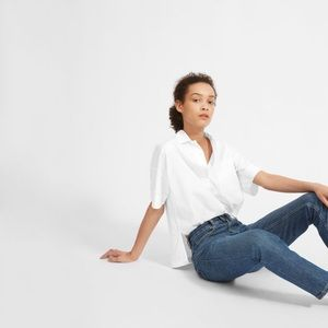 Everlane white popover shirt with collar
